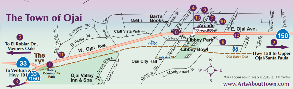 Map of the town of Ojai, from Ventura and Highway 101 and Highway 33, and through to Highway 150, and Santa Paula featuring all the best spots to find things to do through Ojai, Meiners Oaks, and the surrounding area.
