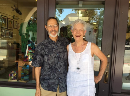 Owners Hallie and Stan Katz in front of their store, Human Arts Gallery.